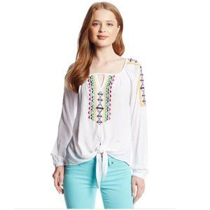 XOXO Juniors Boho Embroidered Tie Front Shirt